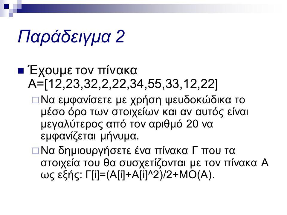 Παράδειγμα 2 Έχουμε τον πίνακα Α=[12,23,32,2,22,34,55,33,12,22]
